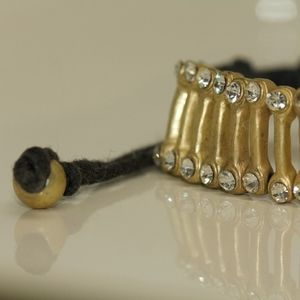 My Long Time Gold Dipped White Topaz Bone Bracelet